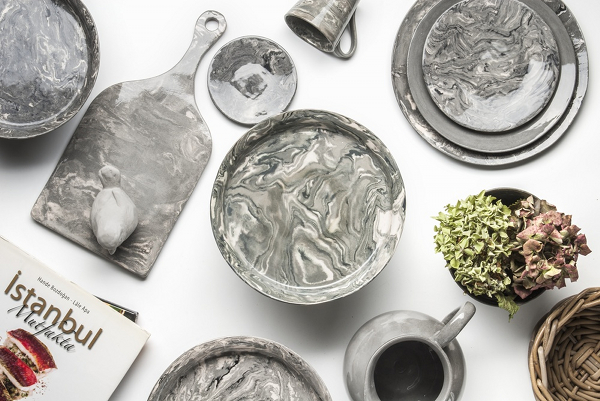 Grey Ebru marble ceramics