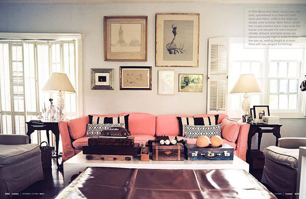 India Hicks Pink Sofa