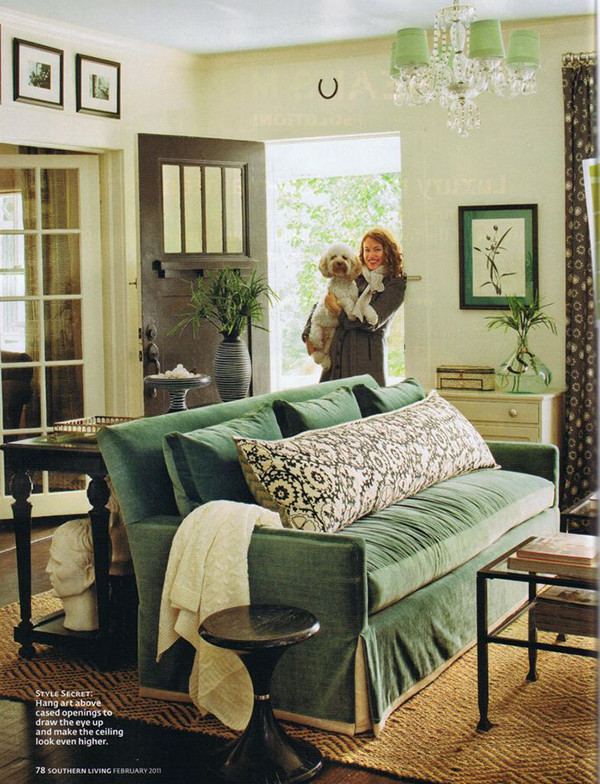 Southern Living Green Sofa