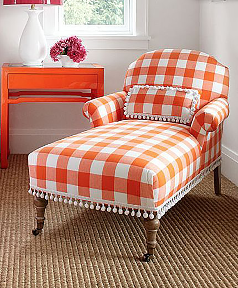Orange Gingham Chaise