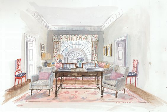 Betsy Burnham White House Rendering | 1st Dibs