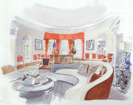 Robert Couturier White House Rendering | 1st Dibs