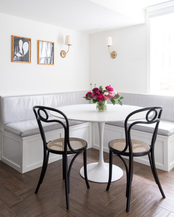 In The Breakfast Room We Added A Built Banquette With Under Seat Storage I Had Black And White Ticking Stripe On Upholstered Cushions Laminated