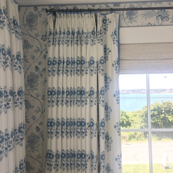 I Spent A Good Amount Of Time Admiring Marku0027s Window Treatments. In This  Room, Woven Inside Mount Roman Shades Were Paired With Drapes.